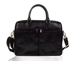 Black leather shoulder laptop bag DUNDEE