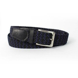 Elegant, woven belt for man SOLIER SB07 black-and-purple