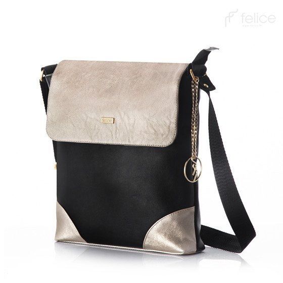 Black & Gold messenger bag Felice Aurora A11
