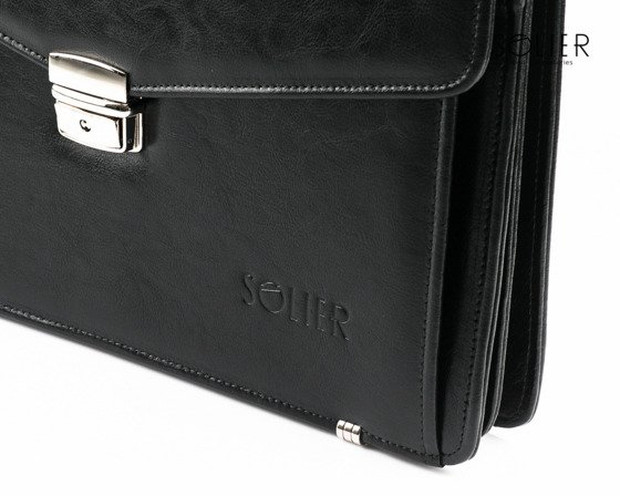 Black leather men's briefcase Solier Business