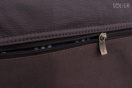 Leather shoulder laptop bag Solier GLASGOW